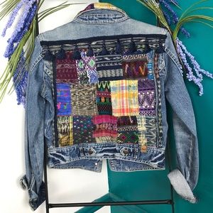 Abercrombie Fitch cropped patchwork Denim Jacket